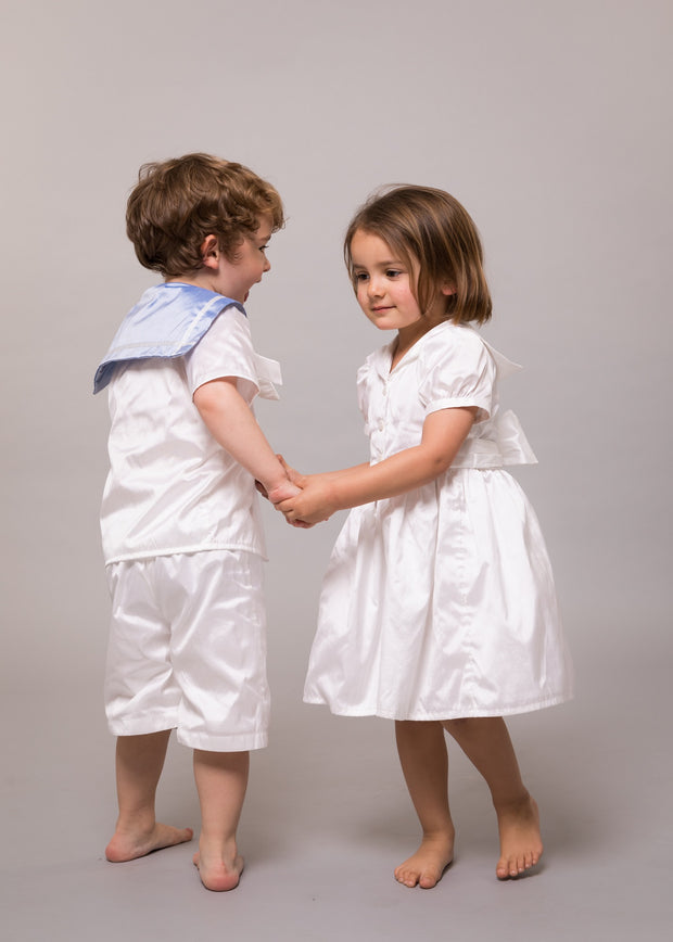 "White silk Christening girls sailor dress - ""Katherine"""