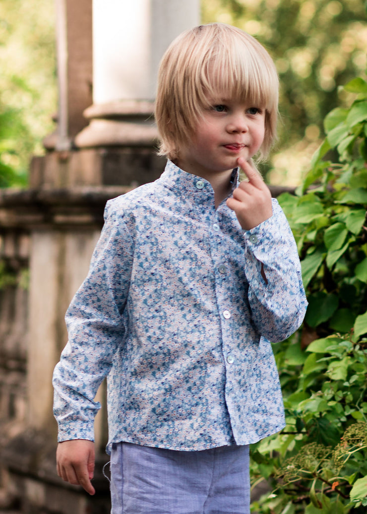 Boys Liberty print light blue shirt