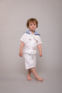 Edward Silk Sailor Suit - White