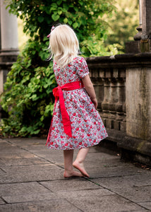 Lulu  Sash Dress - Felicite Red Liberty