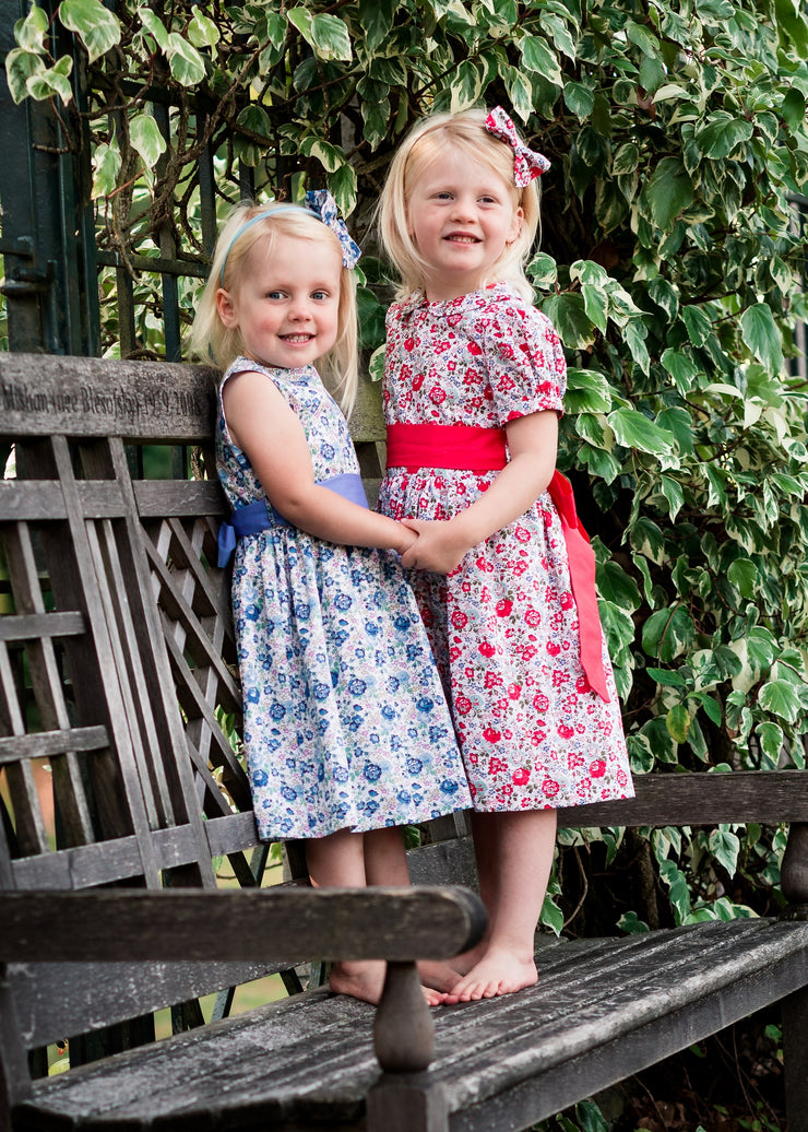 blue and red liberty print dress