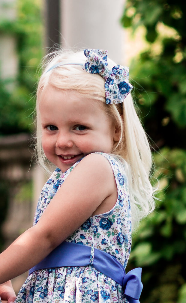 "Liberty Print Sash Blue Flower Girl Dress - ""Lucie"""