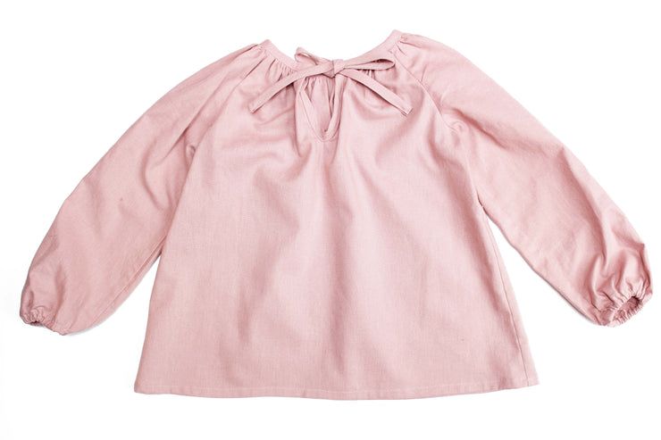 "Dusty Pink Linen Girls Peasant Blouse - ""Maria"""