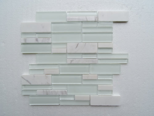 PGMS014 Fantastic Interlocking 11.75in. x 12in. x 8mm Glass and Marble Mesh-Mounted Mosaic Tile