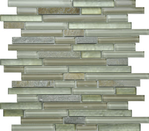 PGMS001 Linear Interlocking 11.75in. x 12in. x 8mm Glass and Marble Mesh-Mounted Mosaic Tile