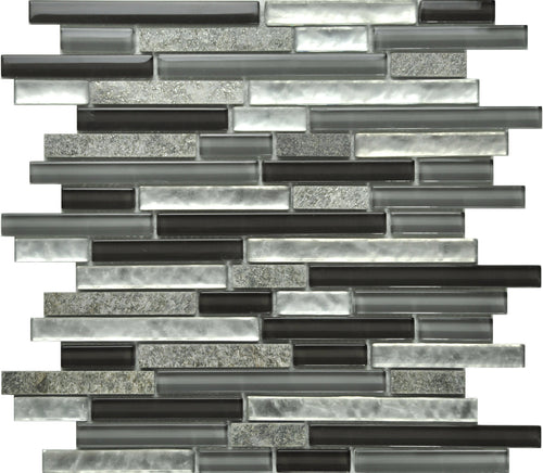 PGMS002 Linear Interlocking 11.75in. x 12in. x 8mm Glass and Marble Mesh-Mounted Mosaic Tile