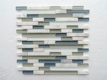PGMS009 Linear Interlocking 11.75in. x 12in. x 8mm Glass and Marble Mesh-Mounted Mosaic Tile