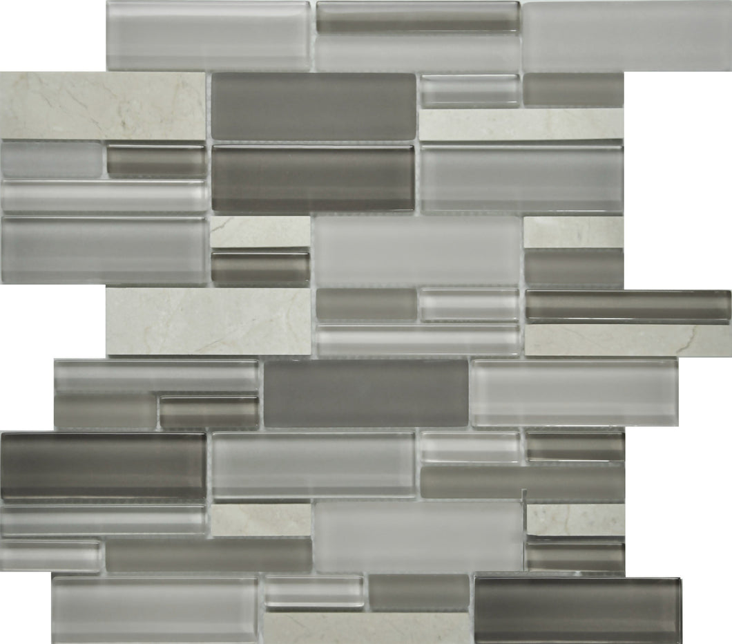 PGMS015 Fantastic Interlocking 11.75in. x 12in. x 8mm Glass and Marble Mesh-Mounted Mosaic Tile
