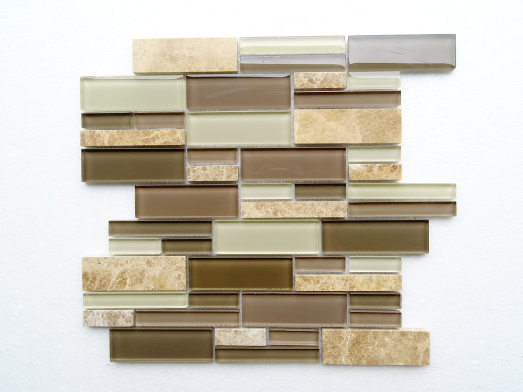 PGMS016 Fantastic Interlocking 11.75in. x 12in. x 8mm Glass and Marble Mesh-Mounted Mosaic Tile