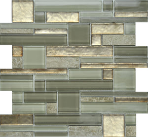 PGMS017 Fantastic Interlocking 11.75in. x 12in. x 8mm Glass and Marble Mesh-Mounted Mosaic Tile