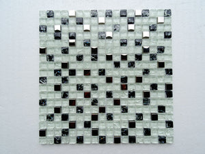 PGMS030 Mini Square Interlocking 11.75in. x 11.75in. x 8mm Glass and Metal Mesh-Mounted Mosaic Tile
