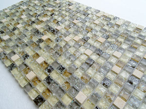 PGMS031 Mini Square Interlocking 11.75in. x 11.75in. x 8mm Glass and Marble Mesh-Mounted Mosaic Tile