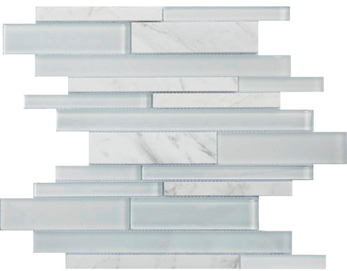 PGMS051 Metro Interlocking 11.75in. x 12in. x 8mm Glass and Marble Mesh-Mounted Mosaic Tile