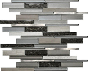 PGMS060 Volcano Interlocking 11.75in. x 12in. x 8mm Glass, Marble and Metal Mesh-Mounted Mosaic Tile