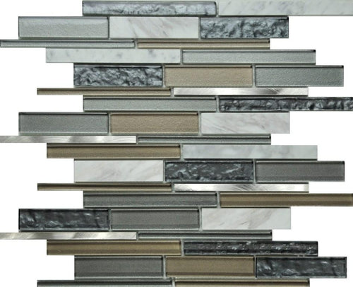 PGMS061 Volcano Interlocking 11.75in. x 12in. x 8mm Glass, Marble and Metal Mesh-Mounted Mosaic Tile