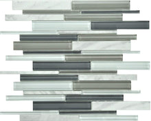 PGMS063 Linear Interlocking 11.75in. x 12in. x 8mm Glass and Marble Mesh-Mounted Mosaic Tile