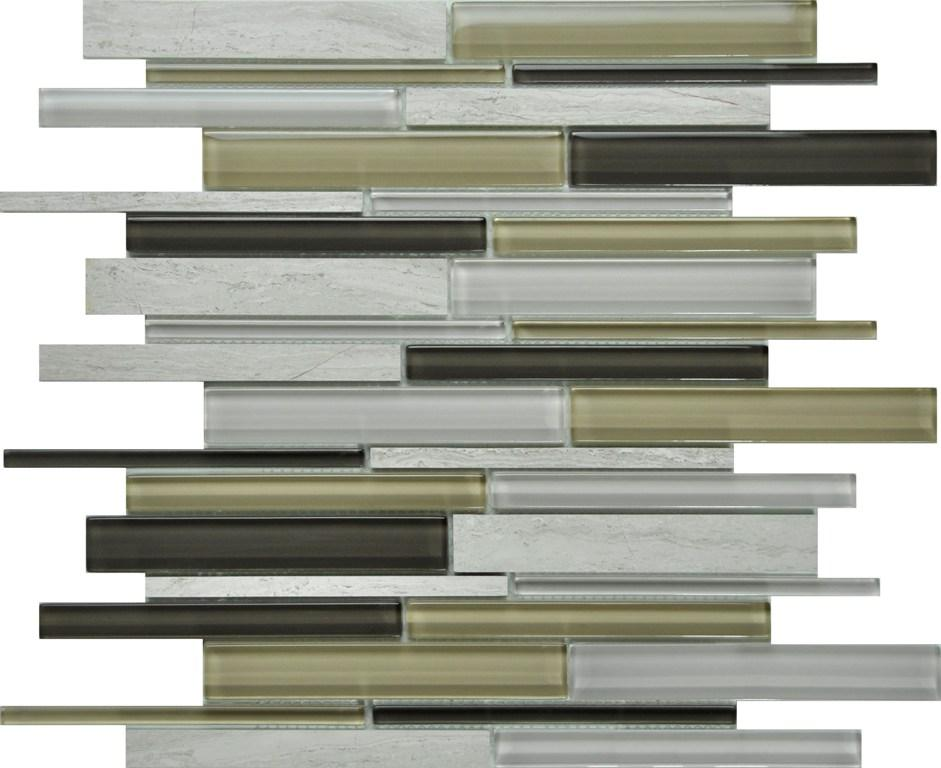 PGMS064 Linear Interlocking 11.75in. x 12in. x 8mm Glass and Marble Mesh-Mounted Mosaic Tile