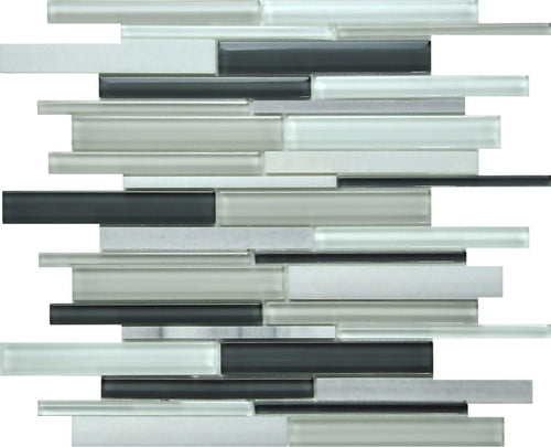 PGMS065 Linear Interlocking 11.75in. x 12in. x 8mm Glass and Marble Mesh-Mounted Mosaic Tile
