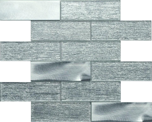 PGMS070 Silk Interlocking 11.75in. x 12in. x 8mm Glass and Metal Mesh-Mounted Mosaic Tile