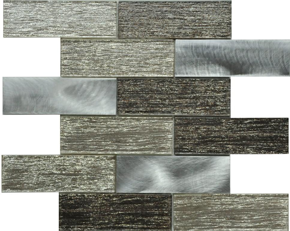 PGMS071 Silk Interlocking 11.75in. x 12in. x 8mm Glass and Metal Mesh-Mounted Mosaic Tile