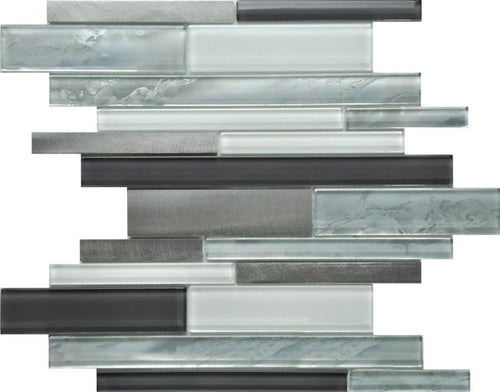 PGMS075 Cloudy Interlocking 11.75in. x 12in. x 8mm Glass and Metal Mesh-Mounted Mosaic Tile