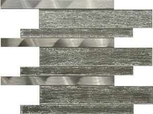 PGMS076 Silk Interlocking 11.75in. x 12in. x 8mm Glass and Metal Mesh-Mounted Mosaic Tile