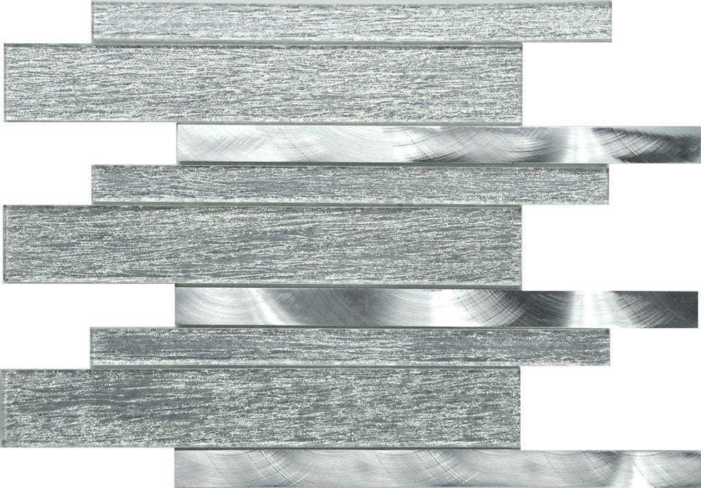 PGMS077 Silk Interlocking 11.75in. x 12in. x 8mm Glass and Metal Mesh-Mounted Mosaic Tile