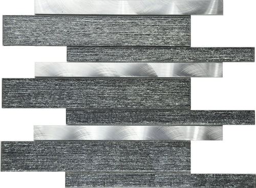 PGMS078 Silk Interlocking 11.75in. x 12in. x 8mm Glass and Metal Mesh-Mounted Mosaic Tile