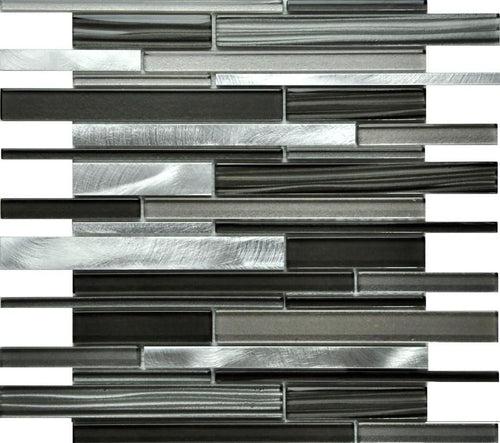 PGMS111 Metallic Interlocking 11.75in. x 12in. x 8mm Glass and Metal Mesh-Mounted Mosaic Tile