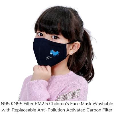 N95 KN95 Filter PM2.5 Childrens Face Mask Washable with Replaceable Anti-Pollution Activated Carbon Filter