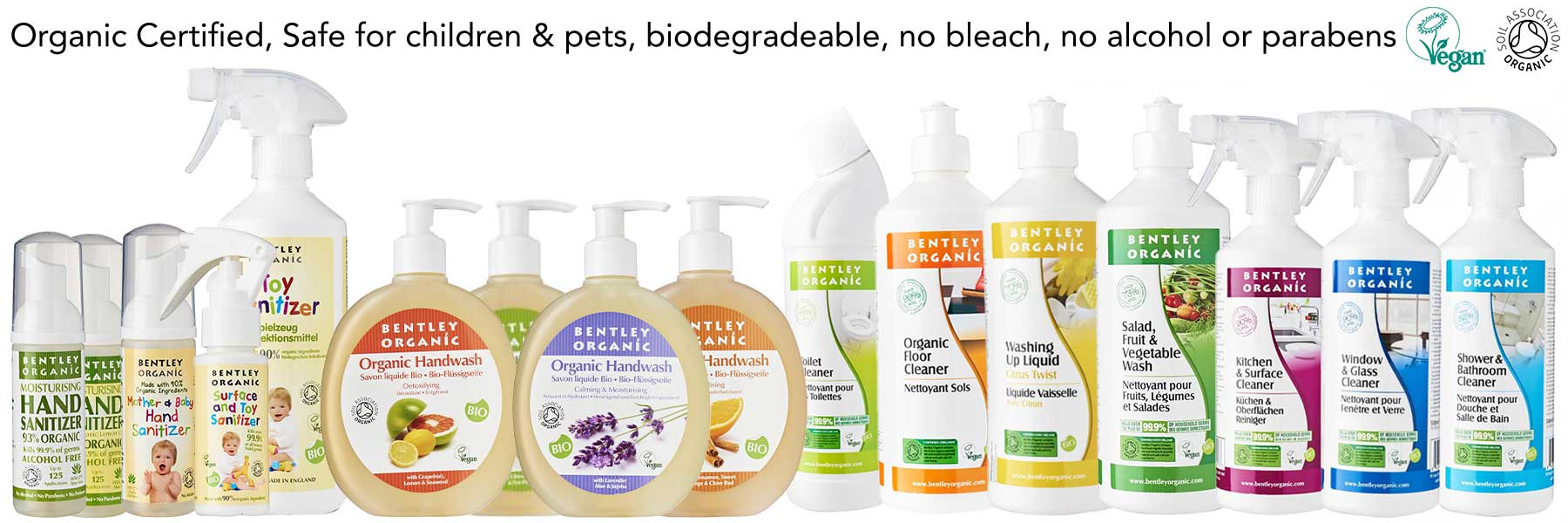 Bentley Organic Sanitisers and Home Cleaners - Safe for Babies and Pets No Alcohol, Bleach, Parabens, SLS/SLES, Vegan
