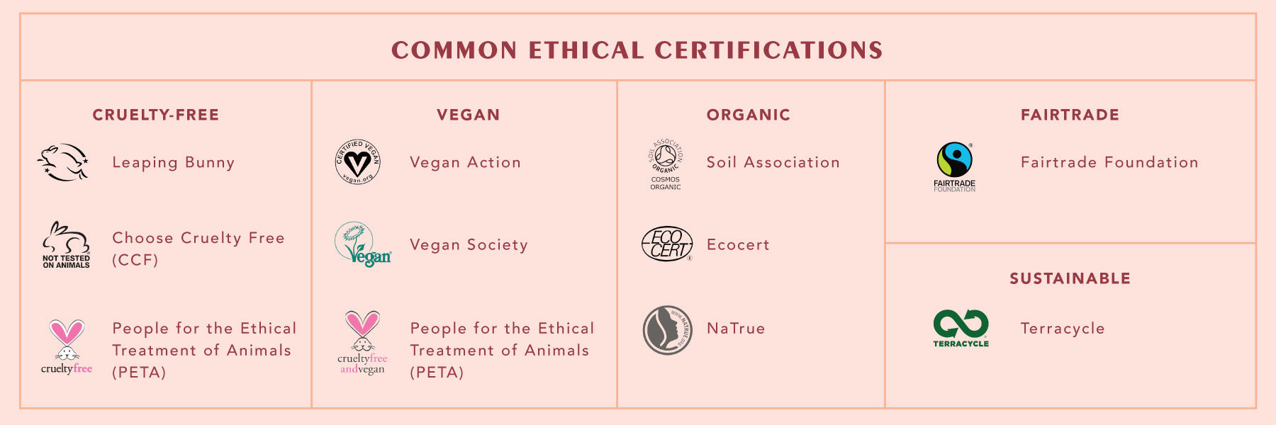 Common Ethical Certifications for Ethical Beauty (Credit: Time to Get Clean)