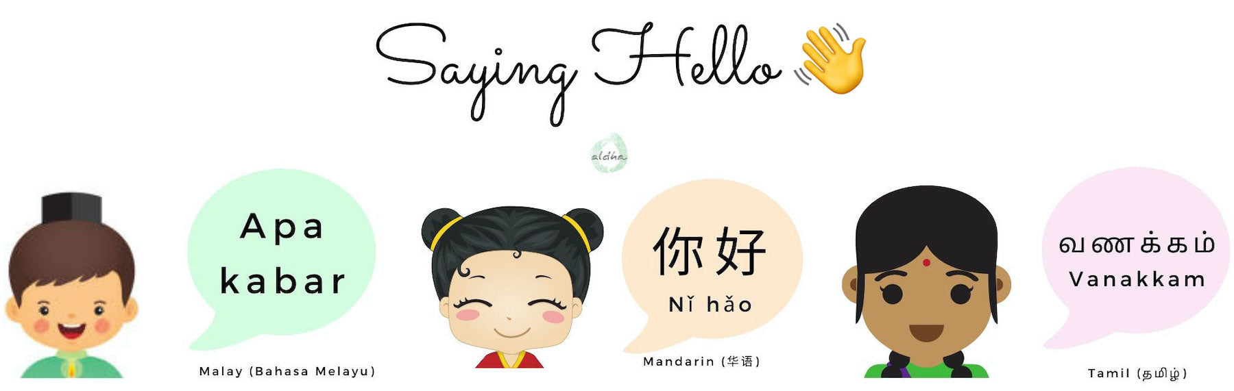 Saying hello in 3 different languages Singapore