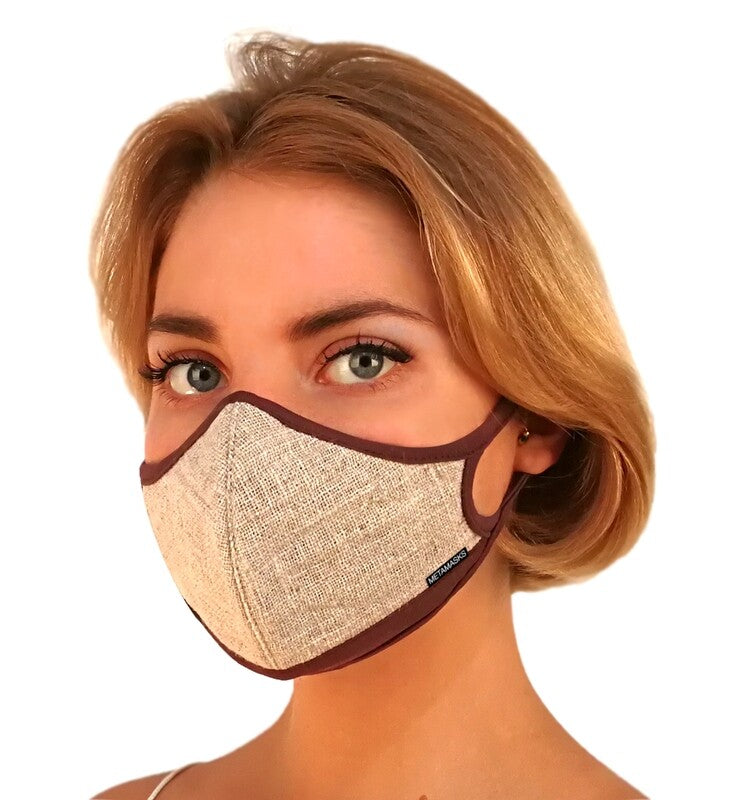 Linen Fashion N97 Face Mask with Embedded Filter. 99.99% protection at PM2.5 Microns • Natural Linen outer with organic bamboo inner. (PRE-ORDER ONLY) - Aldha