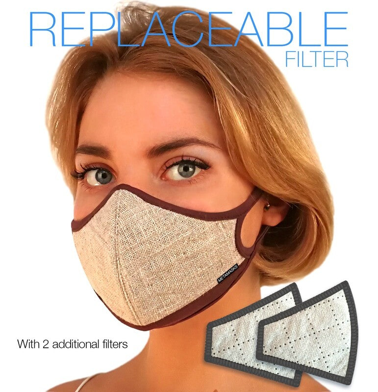 Linen Fashion N97 Air Pollution Face Mask with Replaceable Filter. 99.99% protection at PM2.5 Microns • Natural Linen outer with organic bamboo inner. (PRE-ORDER ONLY) - Aldha