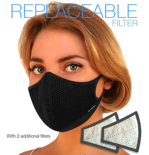 Aria Fashion N97 Face Mask with Replaceable Filter. 99.99% protection at PM2.5 Microns • Super-breathable outer with organic bamboo inner. (PRE-ORDER ONLY) - Aldha