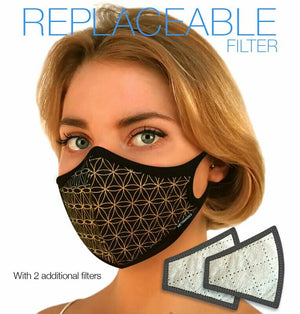 Flower of Life Crystal Infusion N97 Air Pollution Face Mask with Replaceable Filter. 99.99% protection at PM2.5 Microns • Eco-Friendly Modal Fabric Outer with organic bamboo inner. (PRE-ORDER ONLY) - Aldha