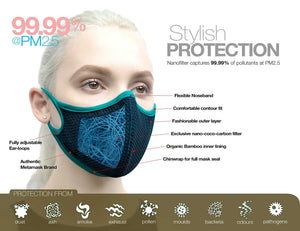 Aria Fashion N97 Face Mask with Embedded Filter. 99.99% protection at PM2.5 Microns • Super-breathable outer with organic bamboo inner. - Aldha