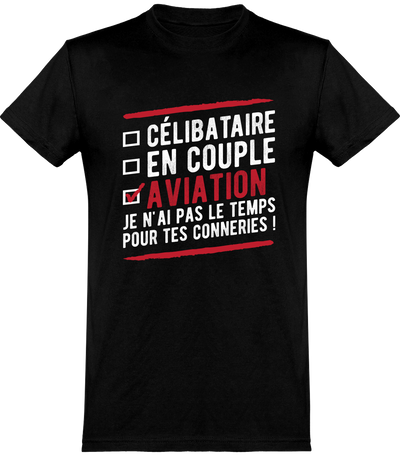 T shirt homme célibataire en couple aviation