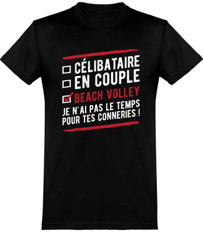 T shirt homme célibataire en couple beach volley
