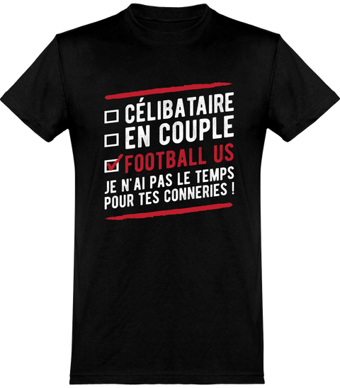 T shirt homme célibataire en couple football us