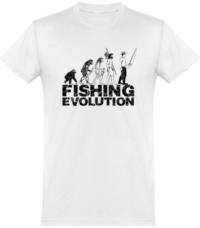 Fishing evolution t-shirt humour pêcheur cadeau, tee shirt 100% coton.