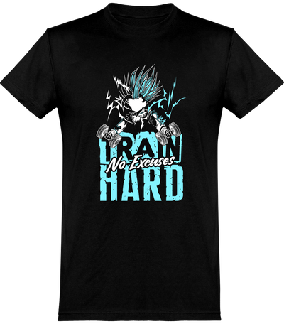 Train hard t-shirt humour fitness cadeau, imprimé en France.