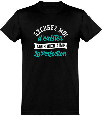 T shirt homme dieu aime la perfection