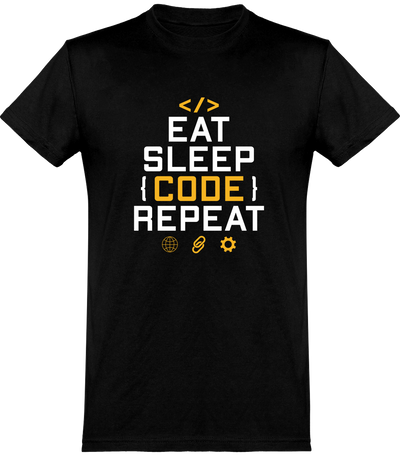 Eat sleep code repeat t-shirt humour geek cadeau, tee shirt 100% coton.