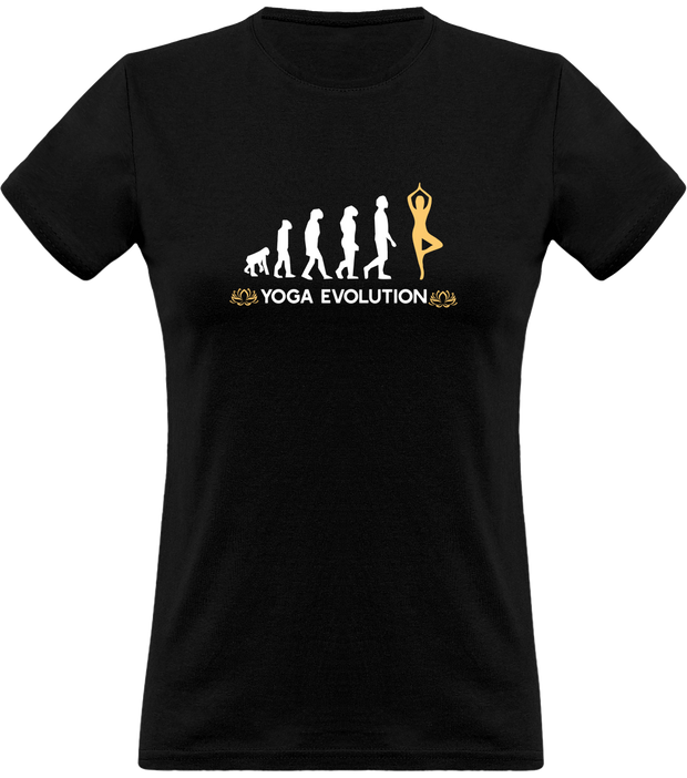 Yoga evolution t-shirt femme humour yoga cadeau, tee shirt 100% coton.
