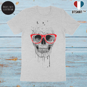 T shirt homme Balázs Solti skull with red glasses