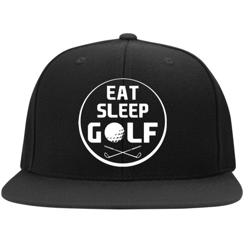 Eat Sleep Golf Flat Bill High-Profile Snapback Hat