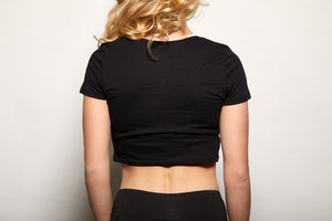 Mighty Black Crop Workout Tee