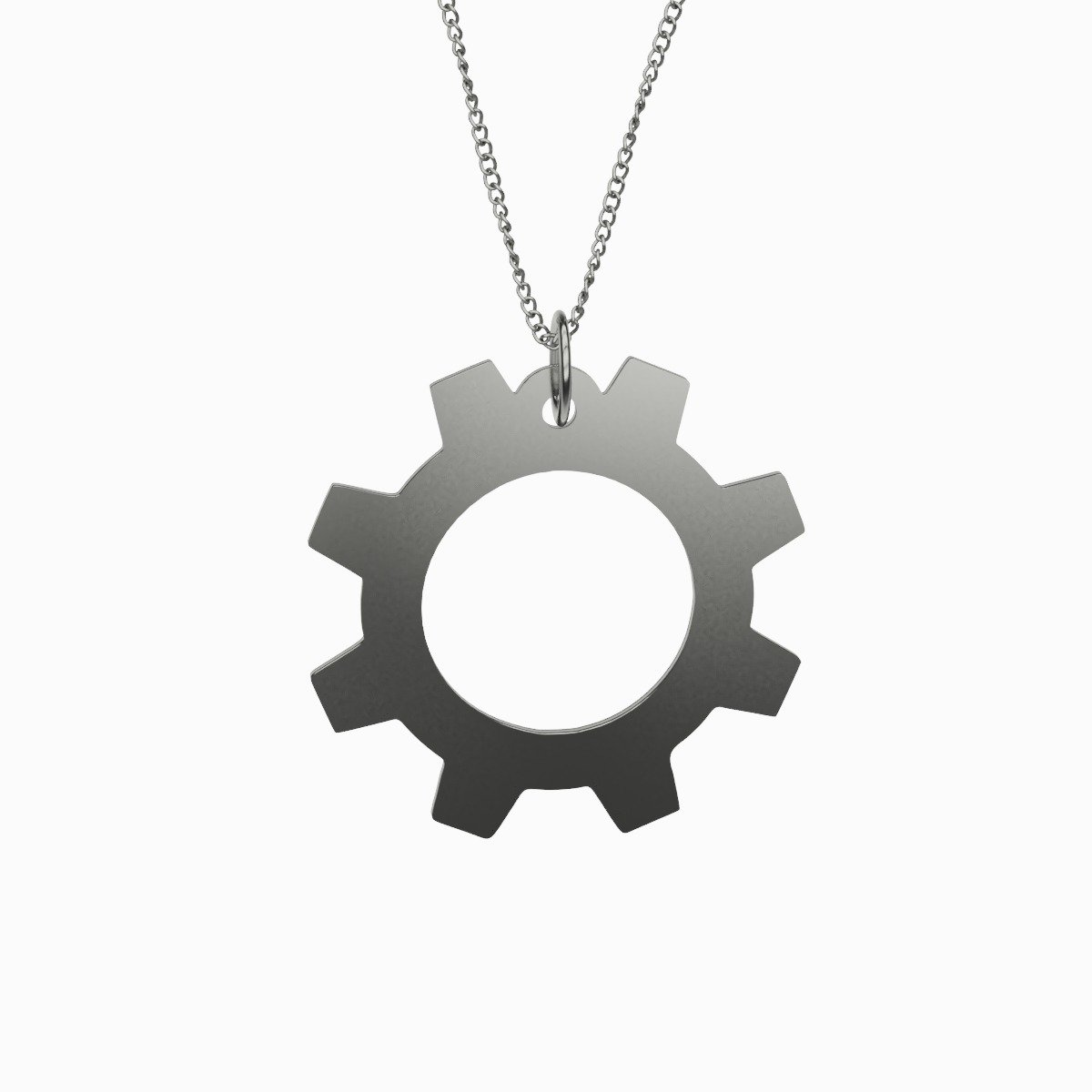 Gear Silver Plated Pendant